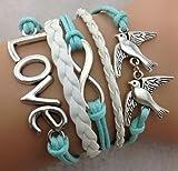 Leder Armband Wickelarmband Vintage Freundschaft Lederarmband Infinity Love NEU (Modell 2)