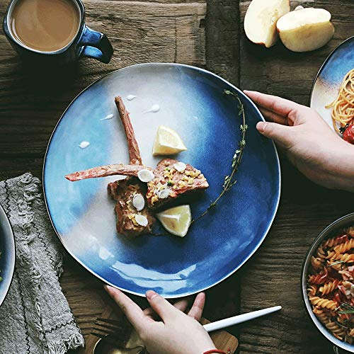LI plaque- Assiette de salade en forme de 8 pouces Restaurant créatif Ensemble Assiette Cake Snack Personnalité Peint à la main En Céramique Vaisselle Ménage Plat tableware (taille : M)