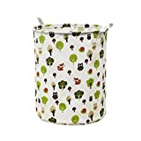 Wanshop 44 * 35cm(42L) Large Sized Waterproof Canvas Laundry Fabric Folding Laundry Hamper Bucket Cylindric Burlap Canvas Storage Basket (D, Multicolor)