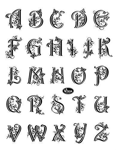 Viva Decor Silicone Transparent-Alphabet avec tampon et Papillons #45