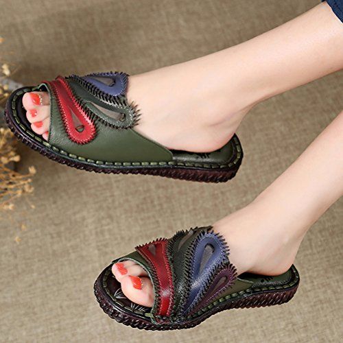 Vogstyle Damen Strand Pantoffeln Leder Ethnischen Stil Flach Peep-Toe Sandalen Art 1 Grün