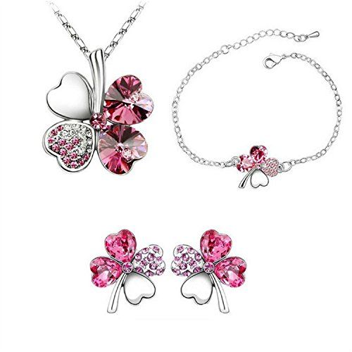 uuouu-lucky-four-leaf-clover-womens-crystal-jewelry-necklacebracelet-and-earring3-piece-set-rose