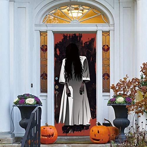 Türaufkleber Langes Haar Frau Geist 3D Abnehmbare Wasserdichte Scary Effekt Halloween Wandkunst Sticker77X200Cm