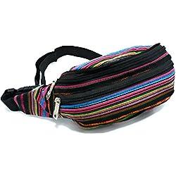 LOREIN- RIÑONERA unisex mujer hombre multicolor hippie boho tejidos algodón Bolso de cintura Ideal para viaje y cada día cintura ajustable riñonera de moda funny pack waist pack bum bag.