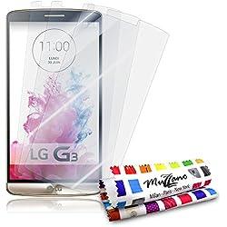 Protections Ecran pour LG G3, 3 Films [UltraClear][Transparents] + STYLET et CHIFFON MUZZANO® OFFERTS - La Protection écran ULTIME ET DURABLE pour votre LG G3