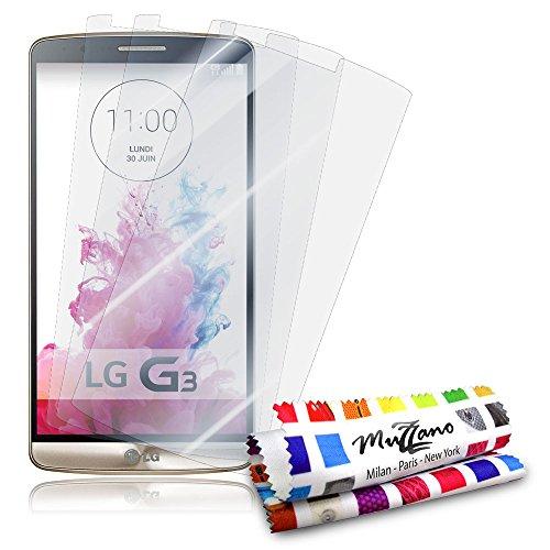 """3 Protecciones de Pantalla transparentes para LG G3 D855 """"UltraClear"""" Originales de MUZZANO de Calidad PREMIUM - Tratamiento Anti-rayado, Anti-rastro y Anti-polvo + De regalo 1 ESTILETE + 1 PAÑO MUZZANO"""