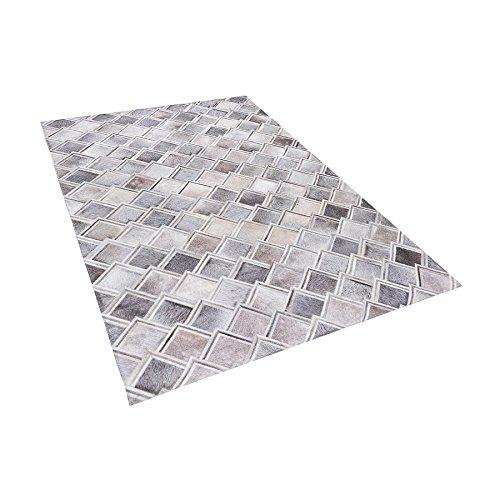 Beliani Tapis Gris aux Motifs géométriques 140 x 200 cm Agacli