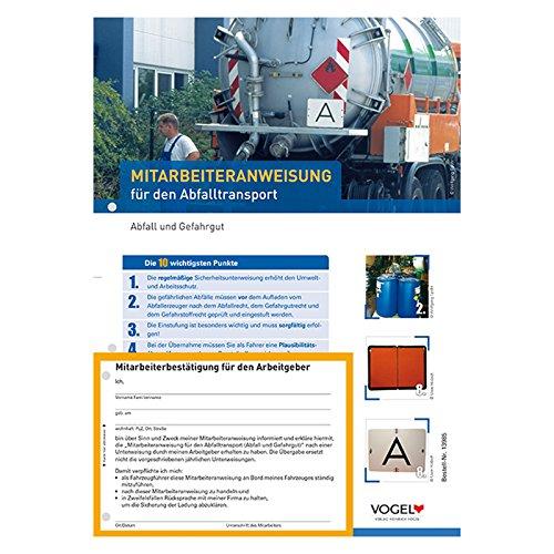 10er Pack Mitarbeiteranweisungen für den Abfalltransport Anweisung Anordnung Verhaltensregeln LKW ADR 2017