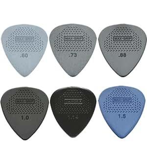 12 x plettro da chitarra, Standard Dunlop Max Grip, 2 per ogni misura, in pratica confezione di latta