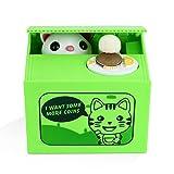 Peradix Gelddose Diebstahl Katzen Elektronische Spardose witziges Geschenk für Kinder (Grün)