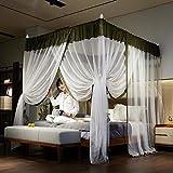 RZJF Moskitonetz - Bett Prinzessin Prinzessin Wind Palace Netze Dreitürige Edelstahlhalterung Fettgrün 1,8 * 2,2 M Bett