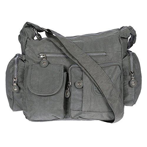 Damen Handtasche Crinkle Nylon Umhängetasche Schultertasche Tasche Shopper Bag Grau (Handtasche Crinkle Nylon)