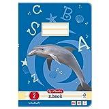 Herlitz 10767267 Heft A4 Lineatur 02, 32 Blatt, Motiv: Delfin, FSC Mix, 5 Stück