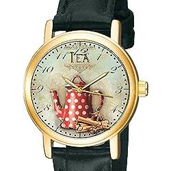 The Tea Drinker's Wrist Watch, Vintage British Kitchen Art Unisex 30 mm