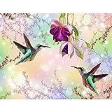 Tapisserie Photo Oiseaux de fleurs 352 x 250 cm Laine papier peint Salon Chambre Bureau Couloir décoration Peinture murale décor mural moderne - 100% FABRIQUÉ EN ALLEMAGNE - 9402011a