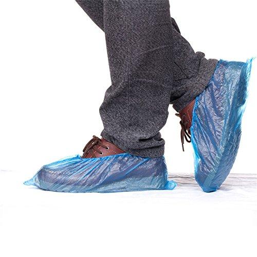 VANKER 100pcs desechables plástico azul impermeable al agua couvre zapatos cubrezapatillas de ciclismo...