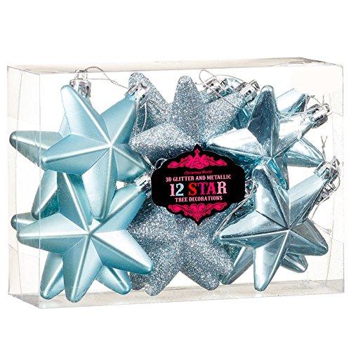 New 12palline di decorazioni per albero di natale 3d glitter & metallic star–blu