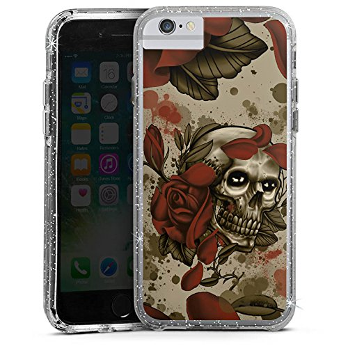 Apple iPhone 6s Bumper Hülle Bumper Case Glitzer Hülle Tattoo Rock N Roll Skull Bumper Case Glitzer silber