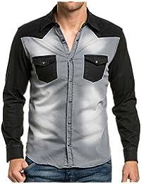 BLZ jeans - Chemise en jean grise et noire fashion nervuré