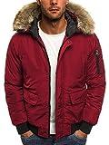 OZONEE Herren Winterjacke Wärmejacke Parka Sweatjacke Steppjacke Jacke Sportjacke Kapuzenjacke J.Style 506 ROT L