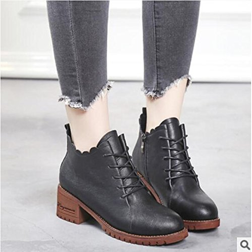 Hsxz Chaussures Femme Pu Automne Hiver Confort Bottes Chunky Talon Bout Rond Bottines / Casual Wear Bottines Noir Brown Brown