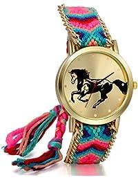 JewelryWe Boho Reloj De Pulsera Étnica De Mujeres, Azul Rosa Cuerda De Tela Tejida, Reloj Trenzado De Hilos Ajustable, Patrón de Caballo, Regalo Para Chica