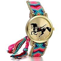 JewelryWe Orologio donne di etnia, Azul Rosa Corda tessuto, Filo calza Orologio regolabile, Modello di cavallo, Regalo a ragazza - Tessuto Cavallo