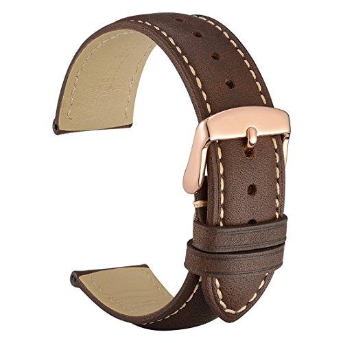 WOCCI 20mm Cinturino Orologio in Pelle Retro con Fibbia in Oro Rosa, Ricambio Unisex (Nero)