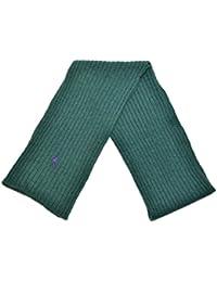 Polo Ralph Lauren Men Rib-Knit Pony Logo Wool Scarf (One size, Northwest green)
