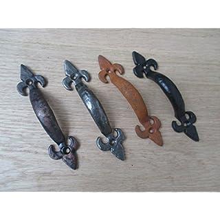Ironmongery Monde® 12,7cm/125mm en fonte Fleur de lys traditionnel vintage de cuisine Porte de placard Poignée de traction (Noir antique)