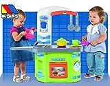 Spielküche mit Theke, Waschmaschine, Ofen, Waschbecken, 12-tlg. Zubehör: Spielzeug Küche Kinder Spielküche Kinderküche Puppenküche Spiel Herd Backofen