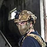 OneTigris Halb Gesichtsschutz Maske Fast Helm Einstellbare Maske für Softair Paintball CS (Khaki) |MEHRWEG Verpackung