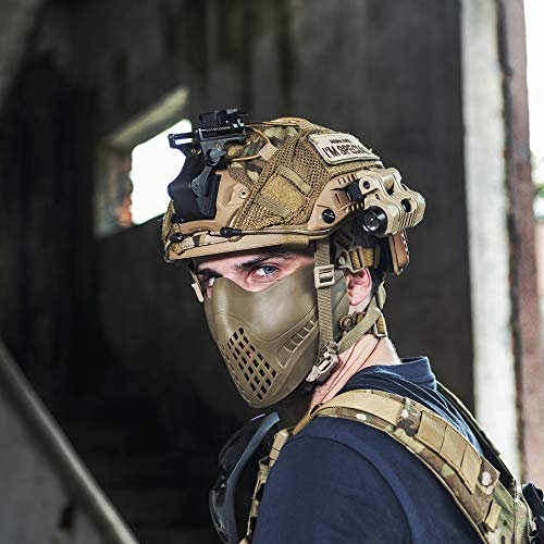1T OneTigris Halb Gesichtsschutz Maske Fast Helm Einstellbare Maske für Softair Paintball CS (Khaki)