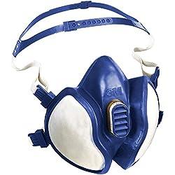3M série 4000 - Demi-masque de protection réutilisable 3M 4277 - Filtres intégrés pour une protection contre vapeurs, gaz et particules - 1 x masque bleu/blanc