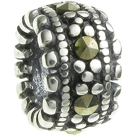 Queenberry gancio in argento Sterling e Marcasite, stile europeo, con Charm - Live Love Laugh Bracciale