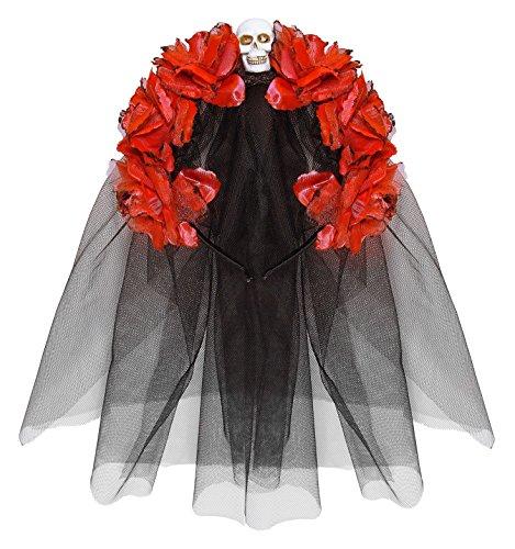 Coiffe fleurs rouges avec tête de mort femme Dia de los muertos 8003558041336