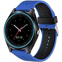 Rrimin V9 0.3M Camera Bluetooth Smart Watch Fitness Tracker SIM Phone Mate(Blue)