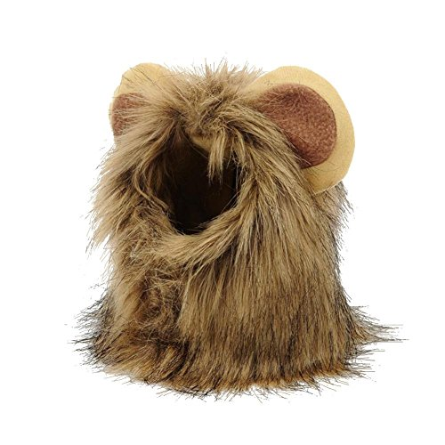Yves25Tate Haustier Kostüm, Löwe Cosplay Löwenhaube mit Ohren, Welpen Kätzchen Hut Kopftuch, für Hunde Katze Halloween Karneval, SML
