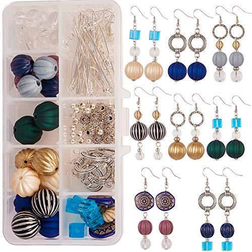 Sunnyclue fai da te 8 paia palla di zucca orecchini pendenti jewellry kit di fabbricazione acrilico rotondo perline ondulate gioielli arti e mestieri forniture di halloween anno nuovo colore misto