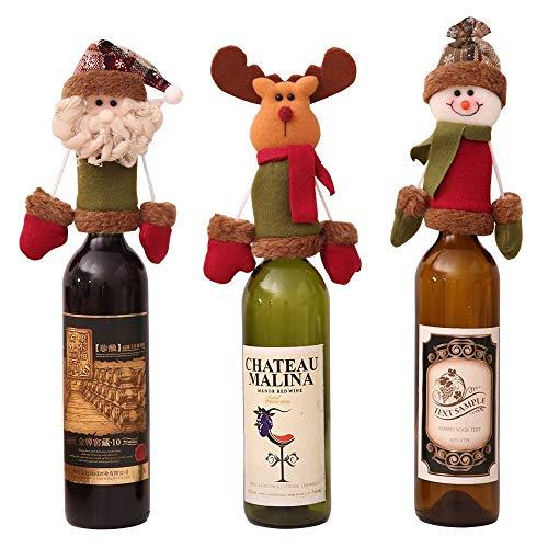 Tres piezas - tejido artículos decoración botellas