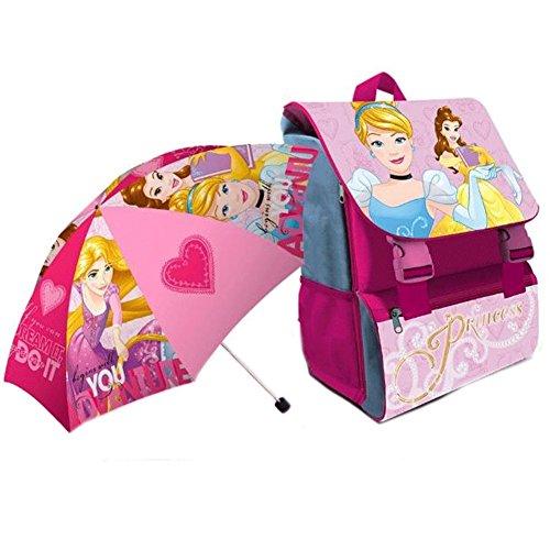 Bakaji zaino scuola estensibile principesse disney zaino scuola elementare bambine disney princess cartella schienale ergonomico spallacci imbottiti scomparto big + ombrello pieghevole principesse