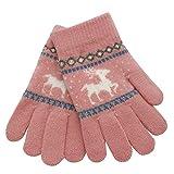 XXYsm Kinder Handschuhe Winter Fäustlinge Weihnachten warm Karikatur Rotwild gestrickte Christmas Gloves Rosa