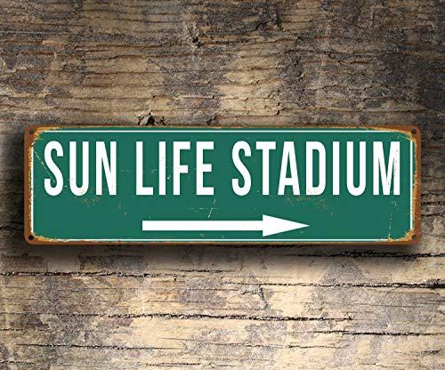 CELYCASY Sun Life Stadionschilder, Vintage-Stil, Sun Life Stadion, Miami Delfine, Miami Hurricanes, Fußballgeschenke, Hurricanes Delfine