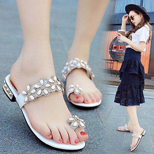 ZYUSHIZ L'été en plein air sandales pantoufles Mme minimaliste de diamants synthétiques de l'Ouest White