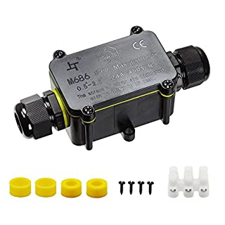 IP68 Waterproof Junction Box, HUYU 2-Way Outdoor Cable Connectors with 2 Cable M20 Gland Wire Connector Electrical Junction Box for 5-12MM Diameter Cable, 3 Pin Terminal, Black