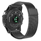 MoKo Garmin Fenix 3 Watch Cinturino, Braccialetto a Maglia Milanese in Acciaio Inossidabile con Chiusura Regolabile Magnetica per Fenix 3 Smart Watch, Nero