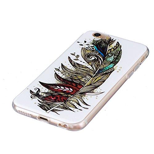 Coque iPhone 7 Luminous,Transparent Coque pour Apple iPhone 7,Ekakashop Ultra Slim-fit Noctilucent avec Motif Cerisier Coque de Protection en Soft TPU Silicone Crystal Clair Souple Gel Housse Protecte Plume Luminous