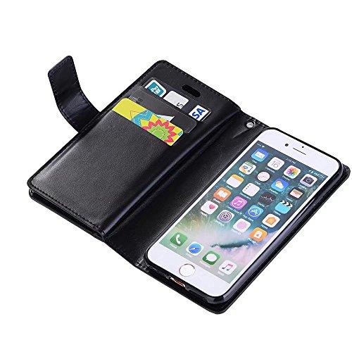 EKINHUI Case Cover Luxuxart und weise-Mappen-Beutel-Kasten, 9 Karten-Schlitze PU-lederner Schlag-Standplatz-Geldbeutel-Kasten-Abdeckung mit Reißverschluss u. Lanyard u. Kickstand für iPhone 7 ( Color  Black