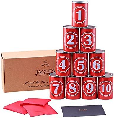 Jaques of London Jeu de Tin Can Alley - Jeux Exterieur Enfant - Boîtes de Conserve en métal véritable, Superbes Sons Clanging - Comprend des Sacs de fèves résistants aux intempéries Since 1795