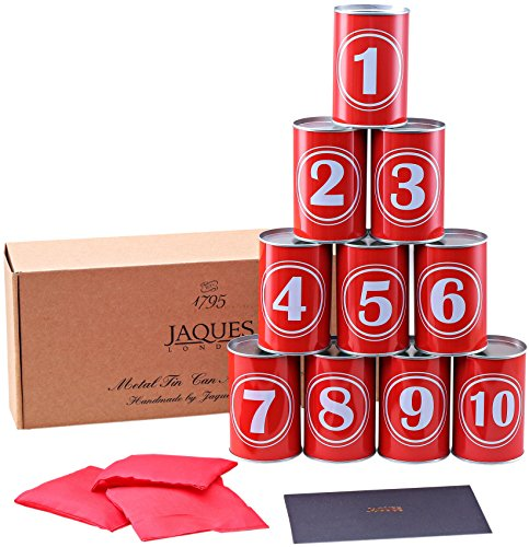 Premium Tin Can Alley Game - Real Metal Full Size Tin Cans- Includes Weatherproof Bean Bags - Jaques of London - Toys and Garden Games Since 1795